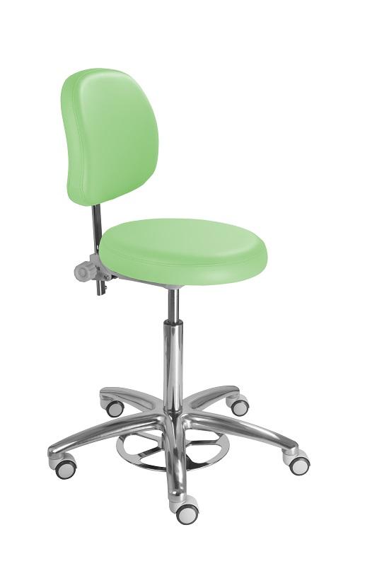Kėdė medikų ir laborantų darbui sterilioje aplinkoje. Sėdynės pagrindas- 15mm fanera dengta 7,5 cm sluoksniu poliuretano, anatomiškai išformuotas kėdės atlošas. Aukštis reguliuojamas koja lankelio pagalba. Kėdės pritaikytos darbui medicinos ir veterinarijos įstaigose, sterilumo sąlygomis dirbančiose laboratorijose. Kėdės sėdimoji dalis dengiama PVC ar PU oda, kėdė lengvai valoma, lengva laikytis higienos reikalavimų. Tinka prie 76-90cm aukščio stalviršių. Esant poreikiui gobeleną galite pasirinkti iš plačios gamintojo paletės. Kėdei suteikiama 3 metų kokybės garantija. Už papildomą mokestį galima rinktis chromu dengtus ratukus RC, stabilius padukus GL.