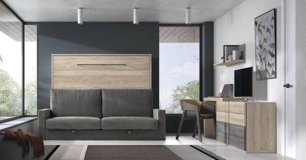 saliekamā gulta-skapis ar dīvānu
